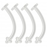 4pc 14g Bioflex Belly Button Retainers Clear Invisible Plastic Rings Bioplast Navel Plastic 12mm 1/2