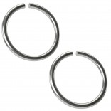 2pc 18g Surgical Stainless Steel Ring Seamless Thin Guage Hoop Endless Cartilage Earring Tragus