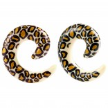 2pc 00g Leopard Spiral Guages Ear Stretching Plugs For Ears Earrings Taper Spirals Curl Flesh Piercing Jewelry