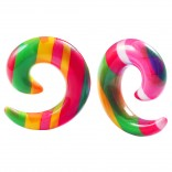 2pc 00g Rainbow Spiral Guages Ear Stretching Plugs For Ears Earrings Taper Spirals Curl Flesh Piercing Jewelry