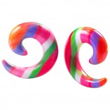 2pc 0g Rainbow Spiral Guages Ear Stretching Plugs For Ears Earrings Taper Spirals Curl Flesh Piercing Jewelry