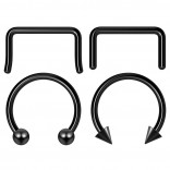 4pc 12mm Black Anodized Surgical Steel 14g Septum Ring Horseshoe Retainer Piercing Jewelry Tragus Eyebrow 3mm Ball Spike
