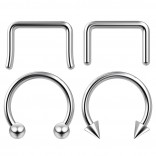 4pc 10mm Steel Anodized Surgical Steel 14g Septum Ring Horseshoe Retainer Piercing Jewelry Tragus Eyebrow 3mm Ball Spike