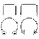 4pc 10mm Steel Anodized Surgical Steel 16g Septum Ring Horseshoe Retainer Piercing Jewelry Tragus Eyebrow 3mm Ball Spike