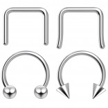 4pc 8mm Steel Anodized Surgical Steel 16g Septum Ring Horseshoe Piercing Jewelry Tragus Eyebrow 3mm Ball Spike