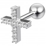 16g 1/4 Cartilage Earring Stud Cross Crucifix Barbell Helix Tragus Lobe Auricle Surgical Steel