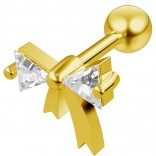 16g 1/4 Cartilage Earring Stud CZ Gold Bow Tie Barbell Helix Tragus Lobe Auricle Surgical Steel