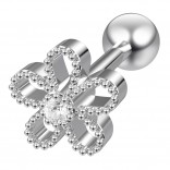 16g Cartilage Flower Helix Earring Forward Piercing Tragus Stud crystal Surgical Steel Jewelry 6mm