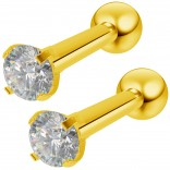 2pc 16g Gold Stud Earrings for Women Set CZ Cubic Zirconia crystal Hypoallergenic Stainless Steel