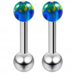 2pc Unique Hand-Painted Ear Piercing Studs Nose Stud 8mm Face Lip Earrings New Men Piercings 16 Guage Medusa Cartilage Earring Stainless Steel For Women Blue