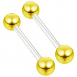 2pc 14g 1.6mm Flexible Tongue Rings Bioflex 14mm 9/16 Bioplast Barbell Ring Gold Anodized Ball