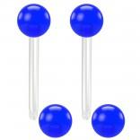 2pc 14g 1.6mm Flexible Tongue Rings Bioflex 14mm 9/16 Bioplast Barbell Ring Blue Acrylic Ball