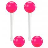 2pc 14g 1.6mm Flexible Tongue Rings Bioflex 14mm 9/16 Bioplast Barbell Ring Pink Acrylic Ball
