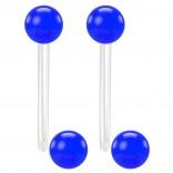 2pc 14g 1.6mm Flexible Tongue Rings Bioflex 16mm 5/8 Bioplast Barbell Ring Blue Acrylic Ball