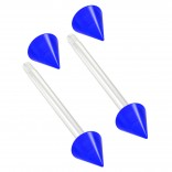 2pc 14g 1.6mm Flexible Tongue Rings Bioflex 14mm 9/16 Bioplast Barbell Ring Blue Acrylic Spike