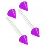 2pc 14g 1.6mm Flexible Tongue Rings Bioflex 14mm 9/16 Bioplast Barbell Ring Purple Acrylic Spike