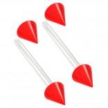 2pc 14g 1.6mm Flexible Tongue Rings Bioflex 14mm 9/16 Bioplast Barbell Ring Red Acrylic Spike