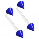 2pc 14g 1.6mm Flexible Tongue Rings Bioflex 14mm 9/16 Bioplast Barbell Ring Blue Spike Acrylic
