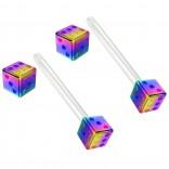 2pc 14g 1.6mm Flexible Tongue Rings Bioflex 14mm 9/16 Bioplast Barbell Ring Rainbow Anodized Dice