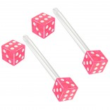 2pc 14g 1.6mm Flexible Tongue Rings Bioflex 14mm 9/16 Bioplast Barbell Ring Pink Acrylic Dice