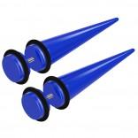 2pcs Blue Acrylic Cheater Plugs 0 Gauge Look Taper Earring Expander Unisex Fake Black O-Rings