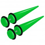 2pcs Green Acrylic Cheater Plugs 0 Gauge Look Taper Earring Expander Unisex Fake Black O-Rings