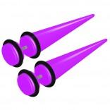 2pcs Purple Acrylic Cheater Plugs 0 Gauge Look Taper Earring Expander Unisex Fake Black O-Rings