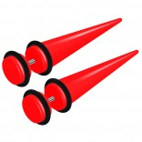 2pcs Red Acrylic Cheater Plugs 0 Gauge Look Taper Earring Expander Unisex Fake Black O-Rings
