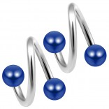 14g 14 Gauge 1.6mm Twisted Barbell Surgical Steel Eyebrow Twist Lip Navel Bars Ear Tragus Twister Earring Spiral 4mm Balls 10mm Blue