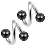 14g 14 Gauge 1.6mm Twisted Barbell Surgical Steel Eyebrow Twist Lip Navel Bars Ear Tragus Twister Earring Spiral 4mm Balls 8mm Black
