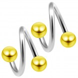 14g 14 Gauge 1.6mm Twisted Barbell Surgical Steel Eyebrow Twist Lip Navel Bars Ear Tragus Twister Earring Spiral 4mm Balls