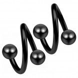 2pc Black 16g Surgical Steel Twisted Barbell 4mm Ball Spiral Cartilage Earrings Lip Tragus Eyebrow Hoop Helix - 10mm