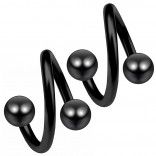 2pc Black 16g Surgical Steel Twisted Barbell 4mm Ball Spiral Cartilage Earrings Lip Tragus Eyebrow Hoop Helix - 6mm
