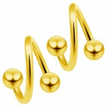 2pc Gold 16g Surgical Steel Twisted Barbell 4mm Ball Spiral Cartilage Earrings Lip Tragus Eyebrow Hoop Helix - 6mm