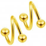 2pc Gold 16g Surgical Steel Twisted Barbell 4mm Ball Spiral Cartilage Earrings Lip Tragus Eyebrow Hoop Helix - 8mm