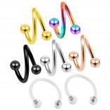 16g Twisted Barbell Spiral Daith Helix Tragus Cartilage Piercing Earrings Twister - 2pc Retainer 8mm
