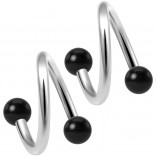 2pc Twisted Barbell 16 Gauge Piercing Earrings Helix Cartilage Twist 316LVM Surgical Steel Daith Spiral Belly Button Ring Navel Twister Body Jewelry 3mm Black Acrylic Ball 8mm