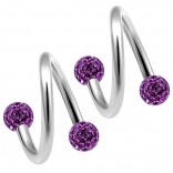 2pc 316LVM Surgical Steel Twisted Barbell 16 Gauge 3mm Crystal Ball Cartilage Labret Piercing 5/16 8mm Amethyst