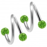 2pc 316LVM Surgical Steel Twisted Barbell 16 Gauge 3mm Crystal Ball Cartilage Labret Piercing 5/16 8mm Peridot