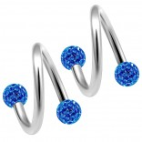 2pc 316LVM Surgical Steel Twisted Barbell 16 Gauge 3mm Crystal Ball Cartilage Labret Piercing 5/16 8mm Sapphire
