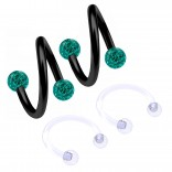 2pc 16g Spiral Cartilage Barbell Lip 16 Gauge Eyebrow Ear Twister Belly Bars Helix Twist Daith Button Ring Navel Victoria Clit Hood Earring Hoop Tragus - Blue Zircon 8mm