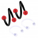 2pc 16g Spiral Cartilage Barbell Lip 16 Gauge Eyebrow Ear Twister Belly Bars Helix Twist Daith Button Ring Navel Victoria Clit Hood Earring Hoop Tragus - Light Siam 8mm
