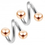 2pc 14g Twister Surgical Steel Eyebrow Lip Tragus Twist Earring Rings Spiral Barbell Piercing 5/16