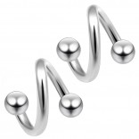 2pc Surgical Steel 14g Surgical Steel Twisted Barbell 3mm Ball Spiral Cartilage Earrings Lip Tragus Eyebrow Hoop Helix - 8mm