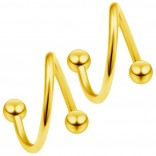 2pc Gold 18g Surgical Steel Twisted Barbell 3mm Ball Spiral Cartilage Earrings Lip Tragus Eyebrow Hoop Helix - 8mm