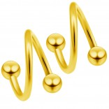 2pc Gold 20g Surgical Steel Twisted Barbell 3mm Ball Spiral Cartilage Earrings Lip Tragus Eyebrow Hoop Helix - 6mm