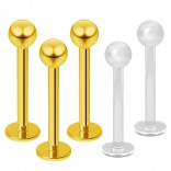 3pc 16g Gold Stainless Steel Lip Rings 3mm Ball Labret Nose Studs Monroe Tragus 10mm + 2pc Retainer