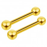 2pc 16g Gold Barbell Cartilage Earring Anti-Tragus Conch Forward Helix Eyebrow Piercing Jewelry 10mm
