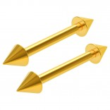 2pc 16g Gold Barbell Cartilage Earring Anti-Tragus Spike Forward Helix Eyebrow Piercing Jewelry 10mm