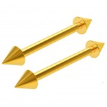 2pc 16g Gold Barbell Cartilage Earrings Anti-Tragus Spike Forward Helix Eyebrow Bar Piercing Jewelry